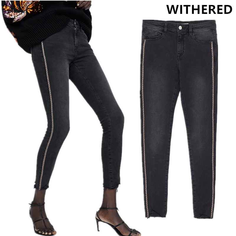 Withered Jeans Woman High Street Burrs Embroidered Sequins Push Up Elastic Skinny Striped Boyfriend Jeans For Women Plus Size
