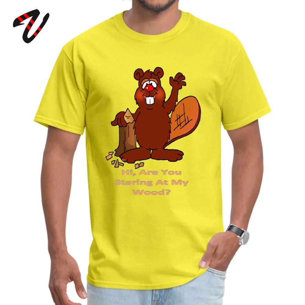 Printed On Tshirts New Design Round Neck Beaver Wood All Cotton Boy Tops Shirt Leisure Short Sleeve Tee-Shirts Beaver Wood 7374 yellow