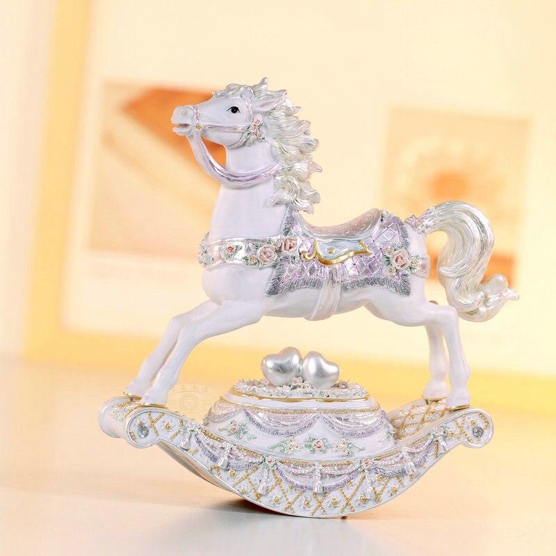 Wsa perle cheval à bascule décorations boîte à musique carrousel boîte à musique cadeau d'anniversaire décoration de la maison