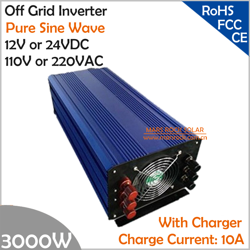 3000W DC12V/24V AC110V/220V Off Grid Pure Sine Wave Single Phase Inverter with Charger and LCD Screen 2000w dc12v 24v ac110v 220v off grid pure sine wave single phase power inverter with charger function surge power 3000w
