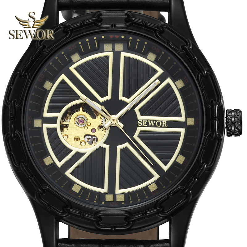 SEWOR 2019 TOP LUJO MARCA MODA Chalet yugo forma BLACK GOLD hombres - Relojes para hombres