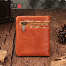 AETOO Wallet female short leather zipper ultra-thin handmade wallet mini vertical coin purse
