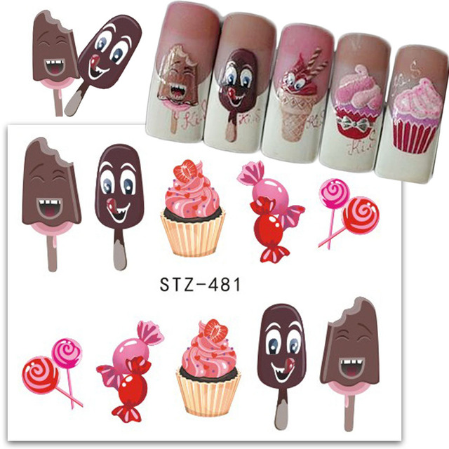 1pcs delicious cake ice cream nail sticker chocolate sweet dessert pattern decals nail art water transfer