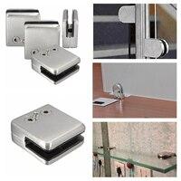 KSOL 4Pcs Stainless Steel Square Clamp Holder Bracket Clip For Glass Shelf Handrails Silver