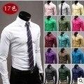 2017 hombres de Color Sólido Camisas de ajuste Clásico Color Sólido Formal de Los Hombres de Manga Larga de Color Caramelo Delgado Men's camisas