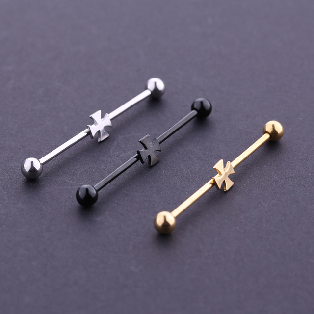 Fashion Stud Earrings Cross Industrial Barbell Earrings 14G Cartilage bar Body Piercing for Woman man free.jpg 640x640 - Fashion Stud Earrings Cross Industrial Barbell Earrings 14G Cartilage bar Body Piercing for Woman man free shipping 1pc