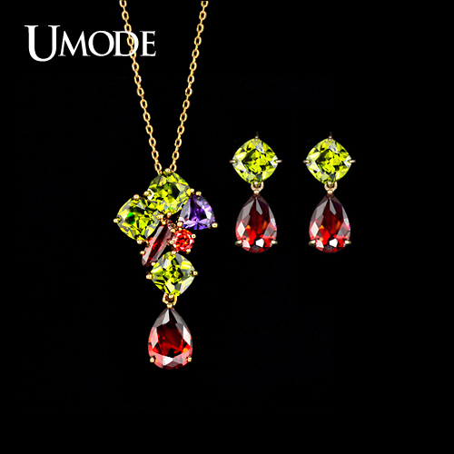 font b UMODE b font Rose Gold Plated Multicolor Top Grade CZ font b Earrings