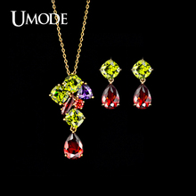 UMODE Brand Rose Gold Color Multicolor Top Grade CZ Earrings and Pendant Necklaces Set For Women