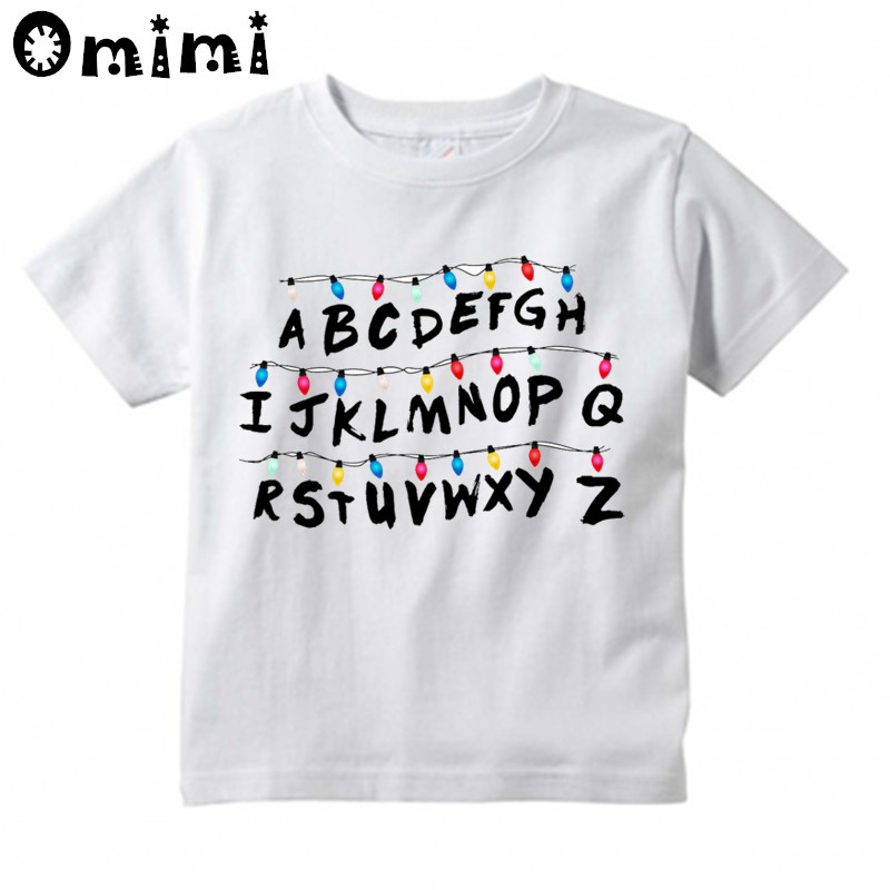 Kids Cartoon Stranger Things Will's Message Design T Shirt Boys/Girls Great Casual Short Sleeve Tops Children's Funny T-Shirt