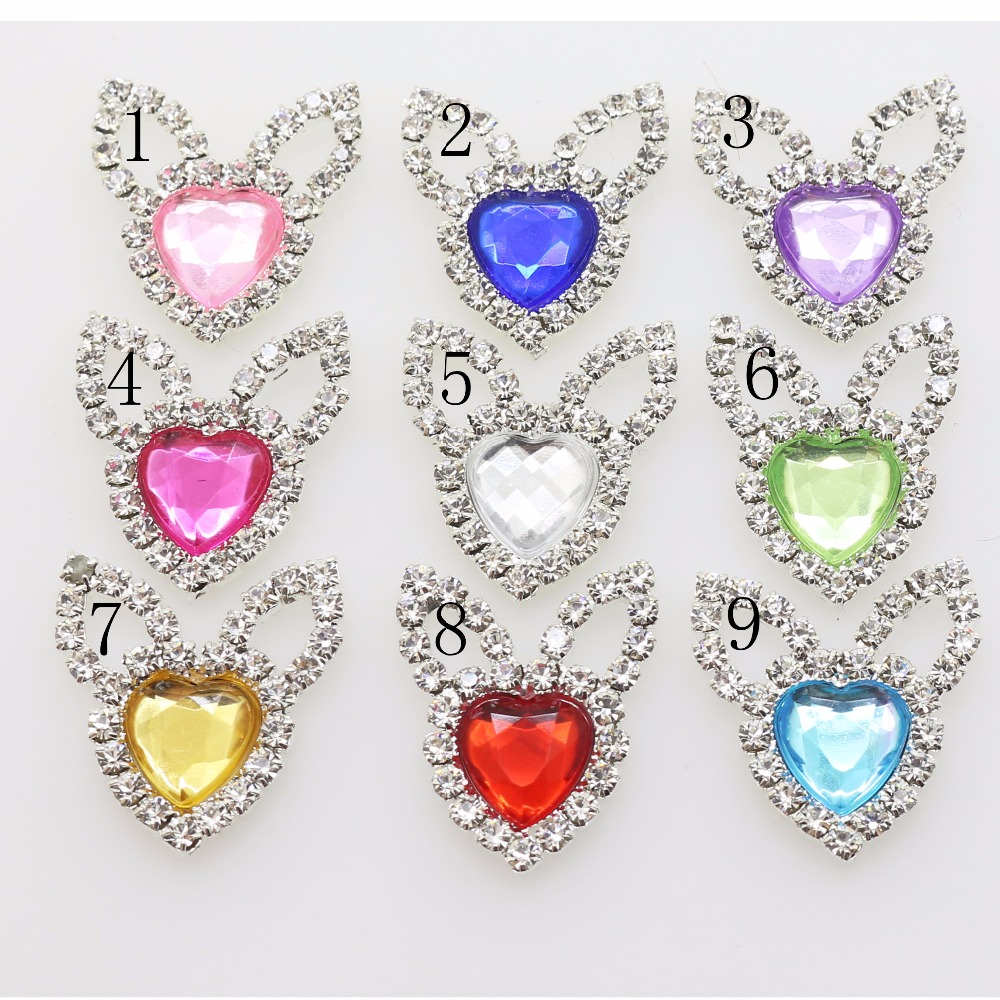 New 10 Pc 22*22mm Acrylic heart Rabbit ears crystal beads Buttons DIY Wedding gift box decorate child clothing beauty accessor