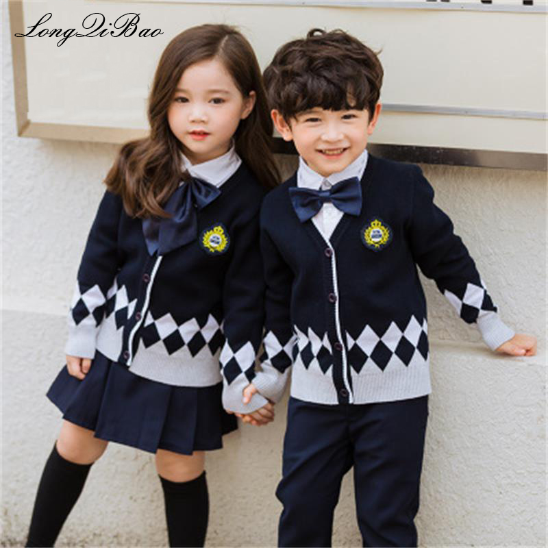 Kindergarten clothing cotton suit sweater cardigan British College wind primary school uniforms autumn and winter clothing