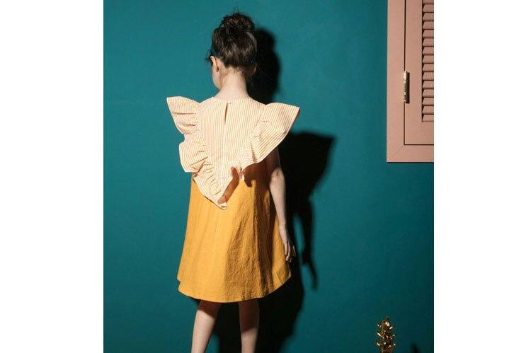 2018 fashion patchwork ruffles dress baby girls dresses for kids summer petal sleeve cotton princess dresses children clothing   (15)