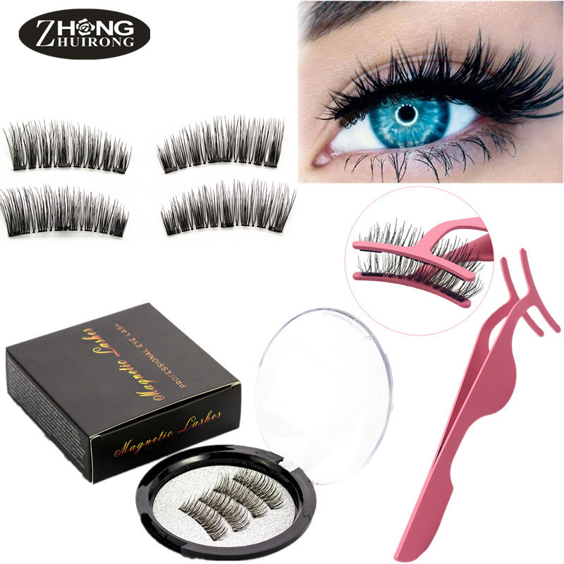 Magnetic Eyelashes With 4 Handmade Magnets Natural Eyelashes Reusable Eyelash Gift Box False Eyelashes