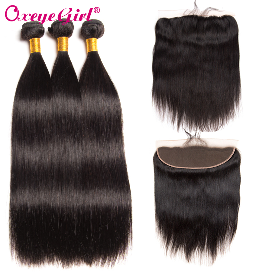 Peruvian Hair Frontal With Bundles Human Hair Bundles With Closure 4x13 Straight Hair Bundles With Frontal Non Remy Oxeye girl