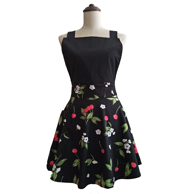 Black Cherry Retro Kitchen Apron Woman Cotton Cooking Salon Avental de Cozinha Divertido Pinafore Apron Dress