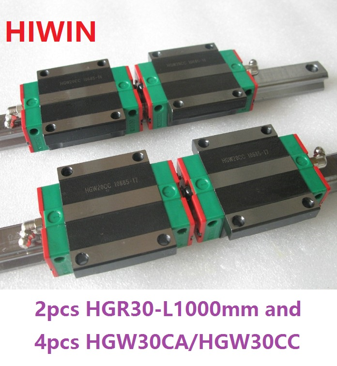 2pcs 100% original Hiwin linear rail HGR30 -L 1000mm + 4pcs HGW30CA HGW30CC flange carriage for cnc hgr30 hiwin linear rail 2pcs 100% original hiwin rail hgr30 1000mm rail 4pcs hgw30ca blocks for cnc router
