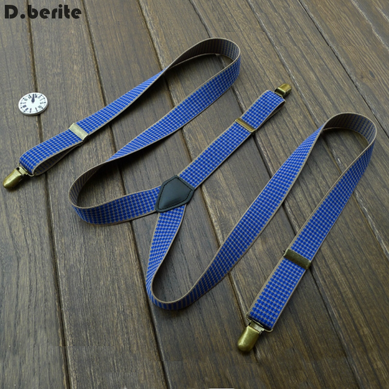 Casual Mens Blue Checked Braces Unisex Adjustable Clip-on Suspenders Clip Braces Adult Belt Strap For Wedding Party BDXJ2530