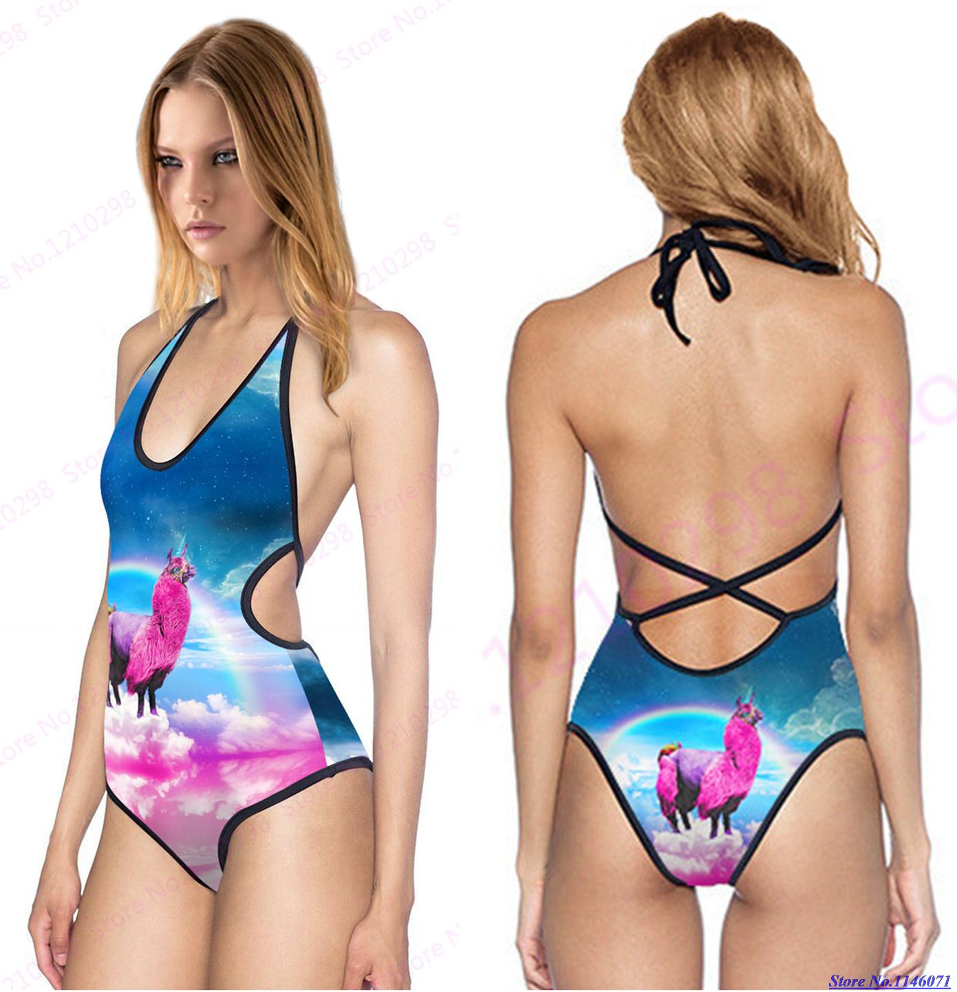 9c29bc68d4 Rainbow Unicorn Swimsuit Beachwear Womens One Piece V Neck Brazilian Bikini  Blue Strappy Haletr Beach Bathing Suit Sexy Backless-in One-Piece Suits  from ...