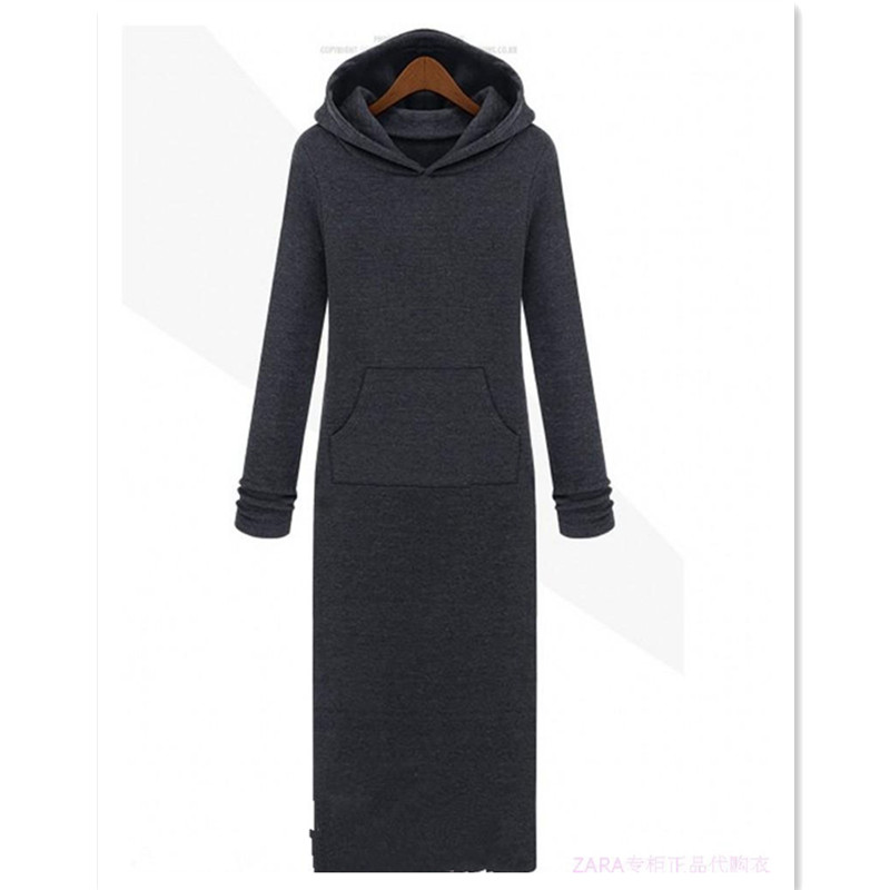 Free Shipping 2019 New Fashion Plus Size S-10XL Long Maxi Dresses For Women Fleece Warm Winter Thicking Dresses With A hood
