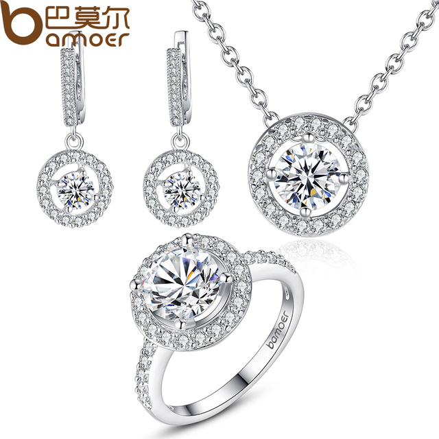 BAMOER High Quality Silver Color Bridal Round Jewelry Sets for Women Wedding wit