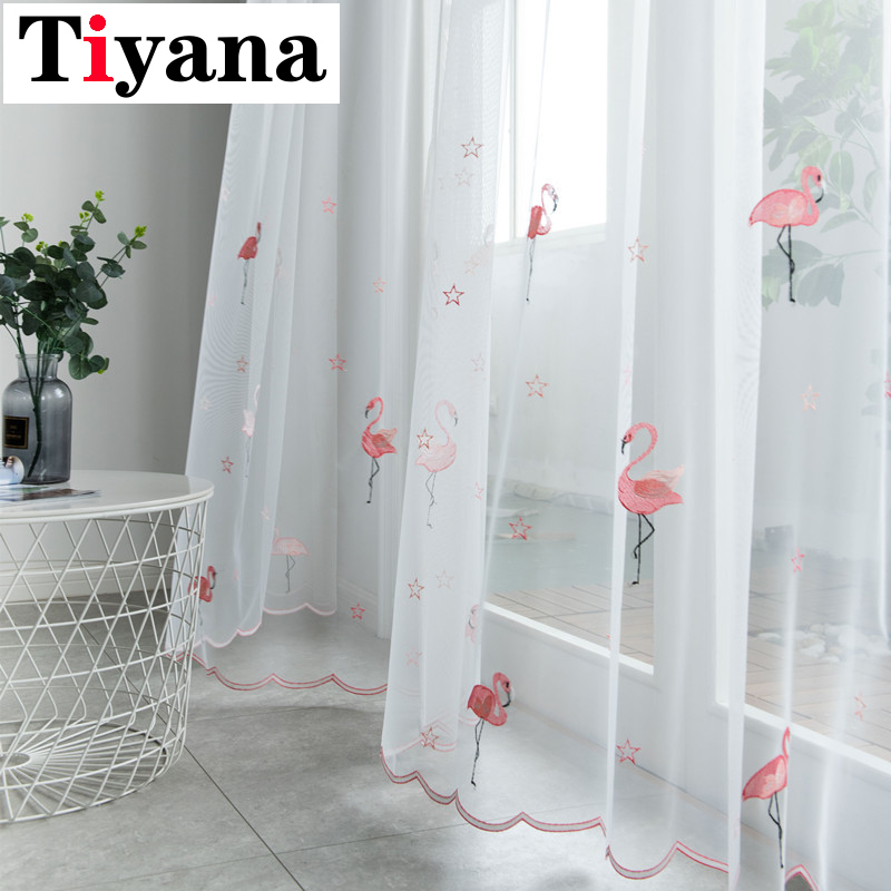 Quality White Tulle Embroidery Pink Flamingo Sheer Curtains For Bedroom Living Room Kitchen Windows Drapes Decor P238X
