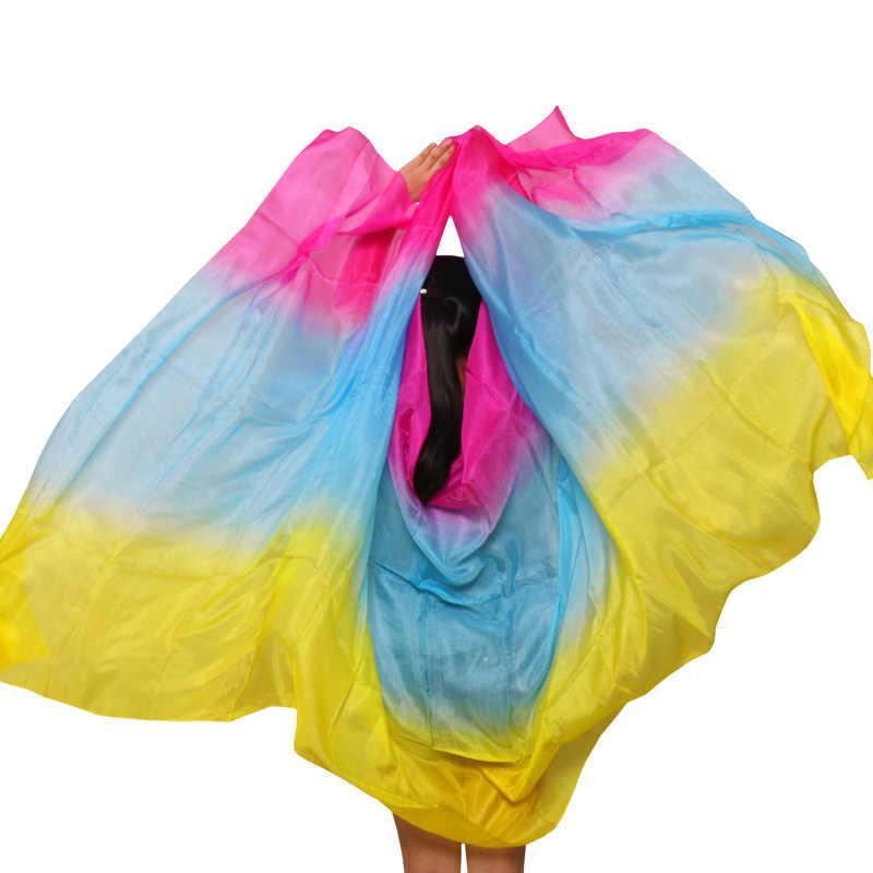 100% ผ้าไหม Handmade Veils Belly Dance ผ้าพันคอ Shawl Gradient Multi สีผ้าไหมผ้าคลุมหน้า Belly Dance เด็กผู้ใหญ่ танец живота