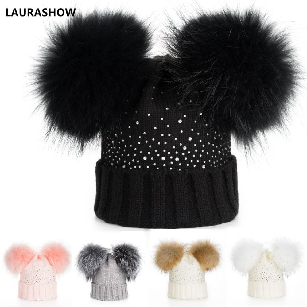 f4f6606d167 LAURASHOW Winter Baby Real Mink Fur Ball Beanie Thick Knit Hat Kids Warm  Raccoon Fur Pom