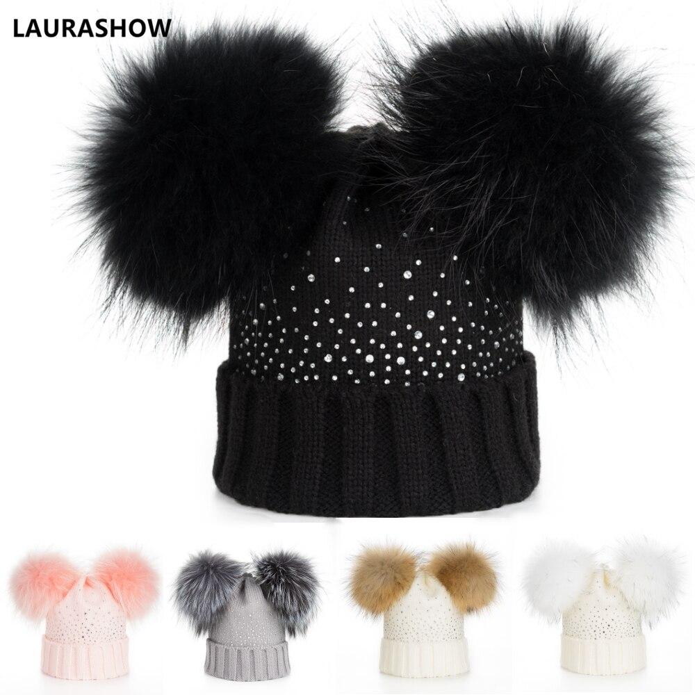 fbfdfd1fc1b50a LAURASHOW Winter Baby Real Mink Fur Ball Beanie Thick Knit Hat Kids Warm Raccoon  Fur Pom
