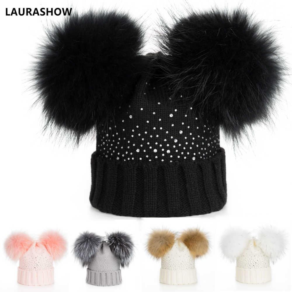 bf61261d006 LAURASHOW Winter Baby Real Mink Fur Ball Beanie Thick Knit Hat Kids Warm  Raccoon Fur Pom
