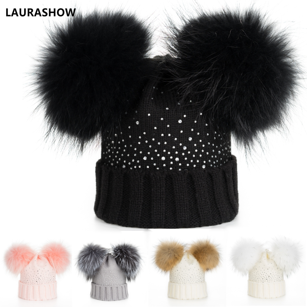 LAURASHOW Winter Baby Real Mink Fur Ball   Beanie   Thick Knit Hat Kids Warm Raccoon Fur Pom Poms   Skullies     Beanies   Wool Cap
