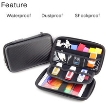 3 Colors Digital Bag Mini Zipper Hard Headphone Case Diving PU Leather Protective Usb Cable Organizer