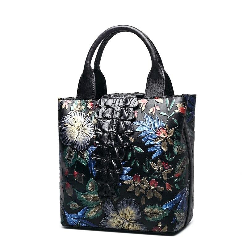QISU national Genuine Leather Top handle bags  women's vintage  embossed leather handbags