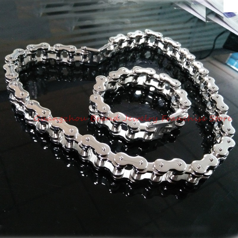 HEAVY JEWELRY! 316L stainless steel 18mm Wide Boy's Men's Motorcycle Bicycle Chain Necklace Bracelet Sets of Silver Biker Bangle 23cm 18mm heavy wide stainless steel bracelet men biker bicycle motorcycle chain men s bracelets mens bracelets