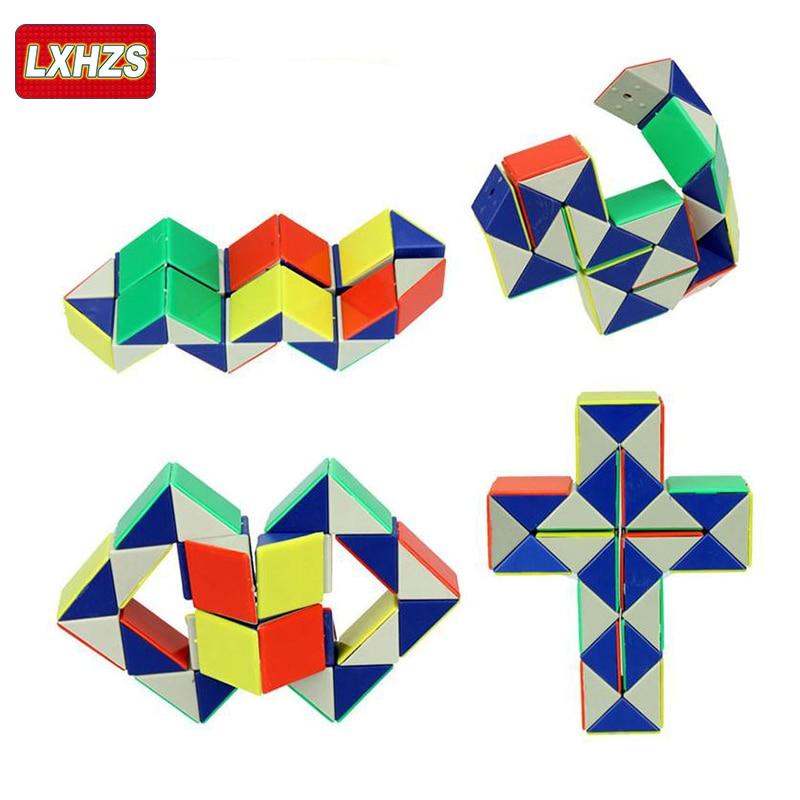 Magic Cubes 24 Blocks Ruler Magic Cube Colorful Snake Twist Puzzle Strange-shape Magic Cube Educational Toy For Children Cubo Magico