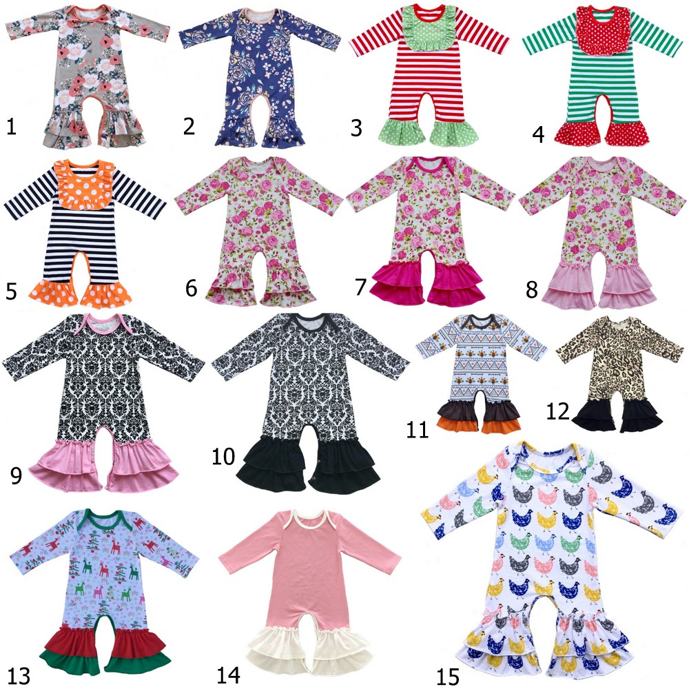 baby girls bull Pajamas icing Ruffled romper Baby girls thanksgiving leg Romper ruffle pants ruffled Christmas night Gown tie front ruffle hem striped romper