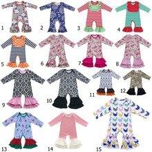 Для маленьких девочек bull пижамы Обледенение комбинезон с оборками для маленьких девочек на День Благодарения ноги комбинезон штаны с оборками трепал Рождество Ночная