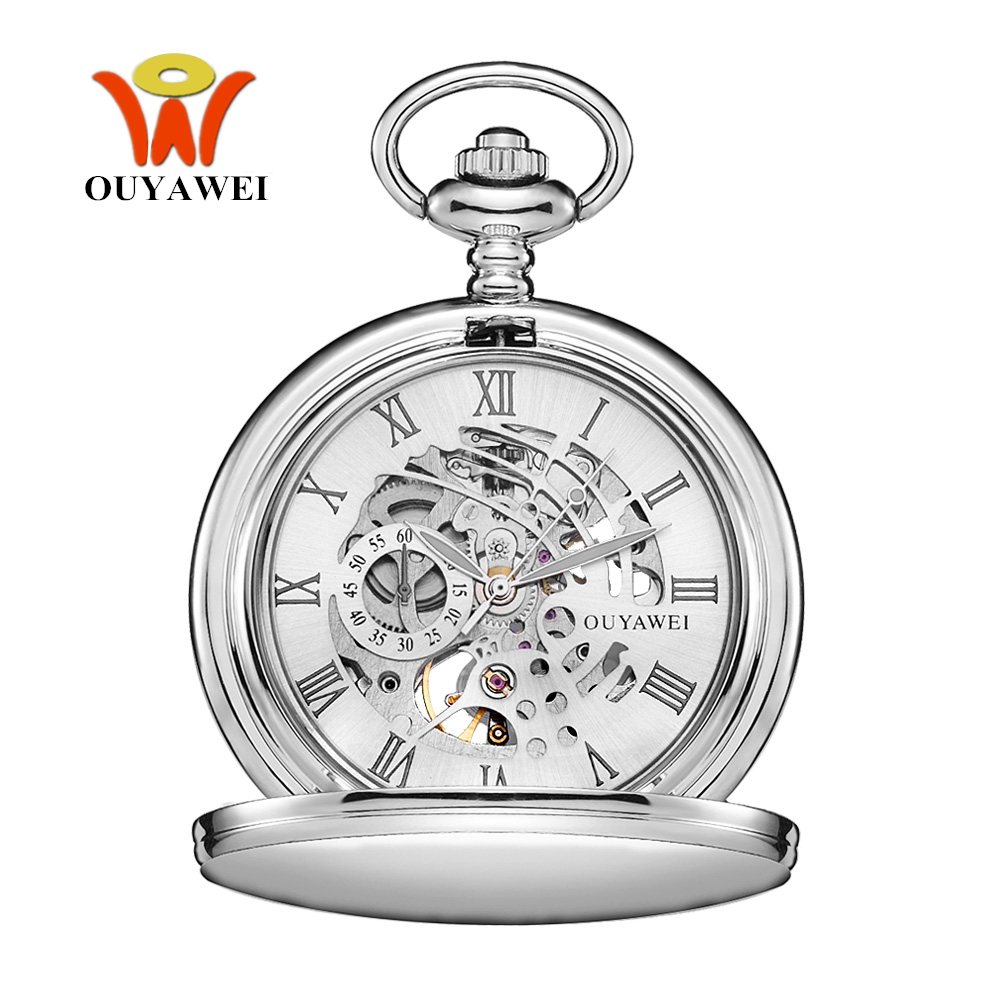 Image 2 - New OYW Brand Stainless Steel Men Fashion Casual Pocket Watch Skeleton dial Silver Hand Wind Mechanical Male Fob Chain Watches-in Pocket & Fob Watches from Watches