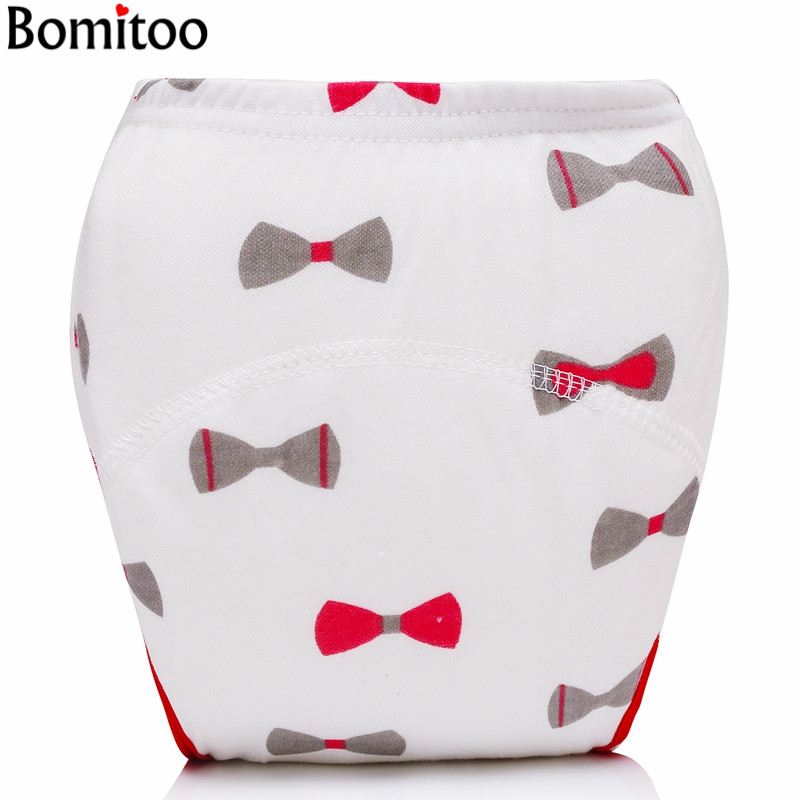 [Bomitoo] Baby Girl&Boy Training Pants Cotton Reusable Pink Ties Cloth Diapers With Cotton Insert For 9-14kg baby