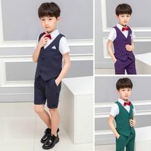 Лидер продаж, детская одежда для торжественных случаев для мальчиков, костюм с платьем на свадьбу, штаны+ галстук+ жилет+ рубашка
