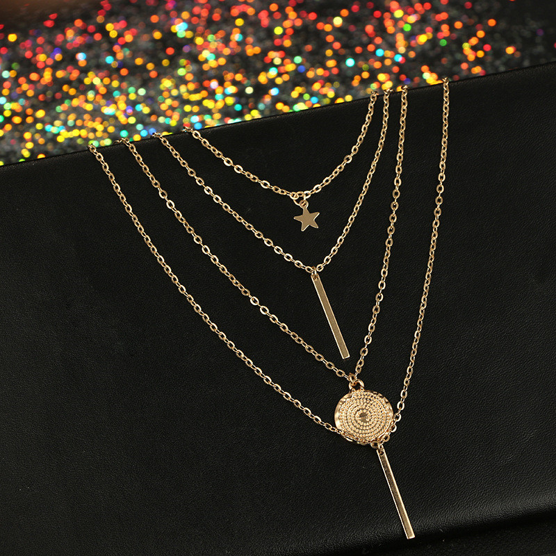 Beach Pentagram Pendant Multilayer Necklace for Women Gold Star Horns Metal Tribal Collar