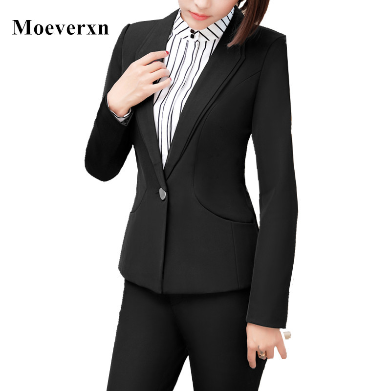 Work wear 2017 new winter suit women slim formal pant suits office ladies plus size long sleeve blazer and trouser uniforms OL