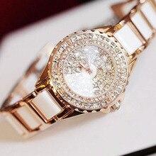 Estilo de moda de Lujo de Cerámica Con Incrustaciones de diamantes de Imitación Con Delicado Dial reloj de Pulsera de Cuarzo Reloj de Señora Regalo LL