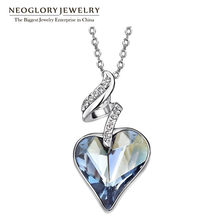 Neoglory Austrian Crystal Rhinestones Four Color Heart Love Chain Necklaces & Pendants For Women 2017 Gift India Jewelry JS4 HE1(China)