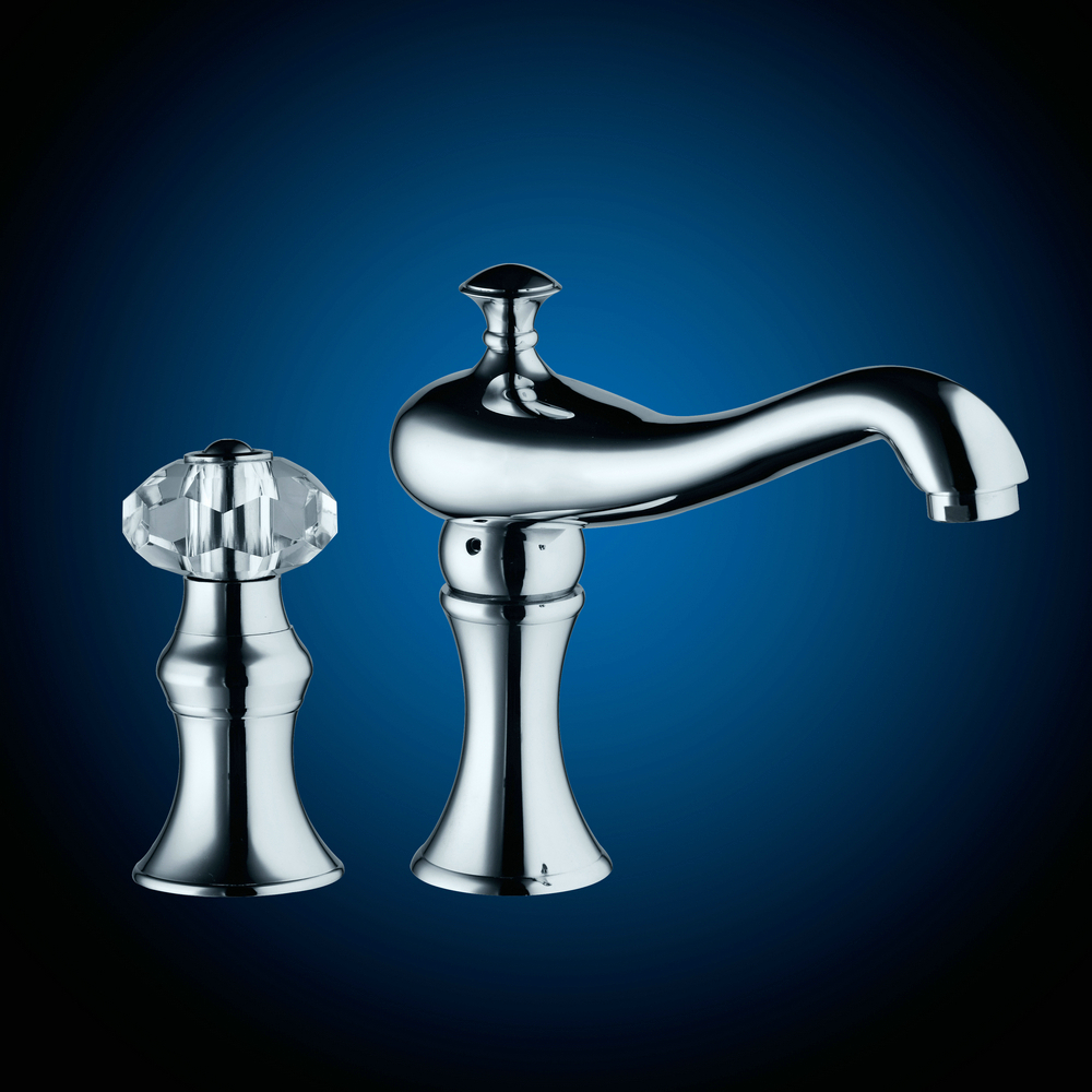 OUBONI 2 Pcs Bathroom Tub Faucet Vessel Sink Basin Faucet 97201 Dual Hole Single Handle Mixer Tap Chrome Brass Faucet