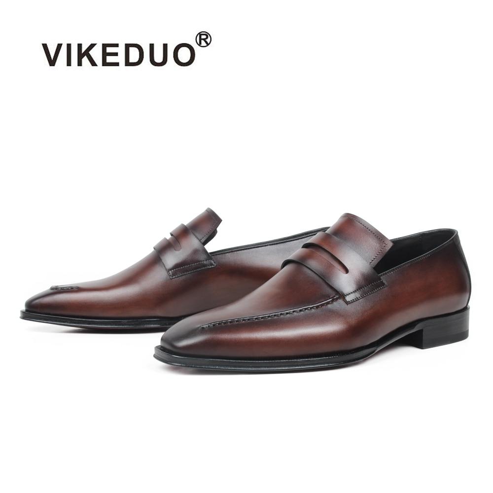 VIKEDUO zapatos de cuero para hombre de verano, zapatos hechos a mano, con suela de café, para hombre, calzado de conducción de oficina de boda-in Mocasines from zapatos    1