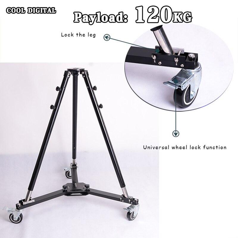 TWZZ 120KG Payload Professional Heavy Duty Folding Wheels Universal Video Tripod Dolly Slider Track For Camera Crane Jib Arm