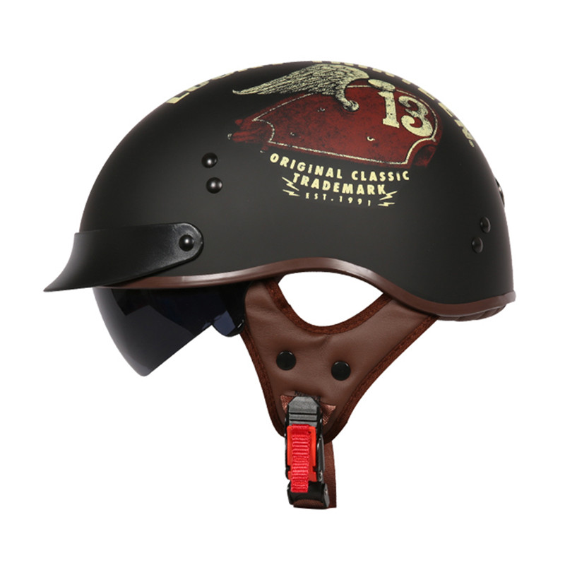 Summer motorcycle helmet Brand TORC T55 half helmet Retro scooter helmet Vintage Lucky 13 skull moto casco DOT approved capacete-in Helmets from Automobiles & Motorcycles    1