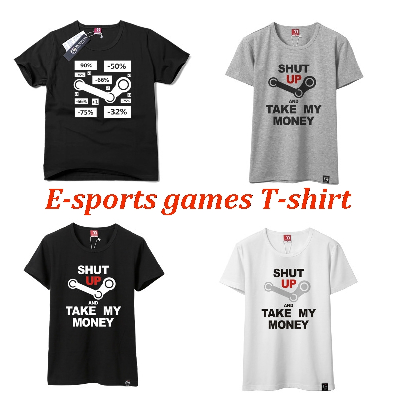 Japanese animation cartoon T-shirt with short sleeves Printed cotton short sleeve T-shirt E-sports game G fat logo Student