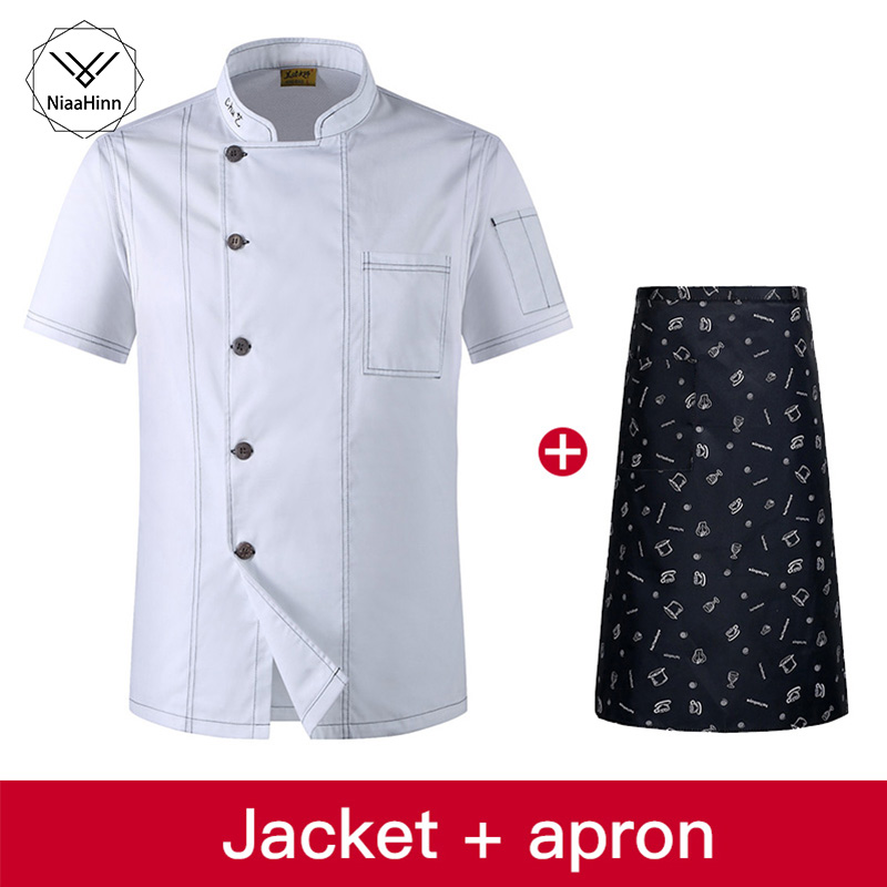 White Stand-up Single-breasted Solid Color Hotel Uniform Kitchen Chef Work Clothes Cafe Uniform Jacke+beauty Apron Sushi Costume