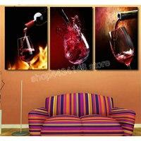5d diy diamond painting red wine icon 3D diamond embroidery living room decoration cross stitch handmade hobby sticker 3pcs